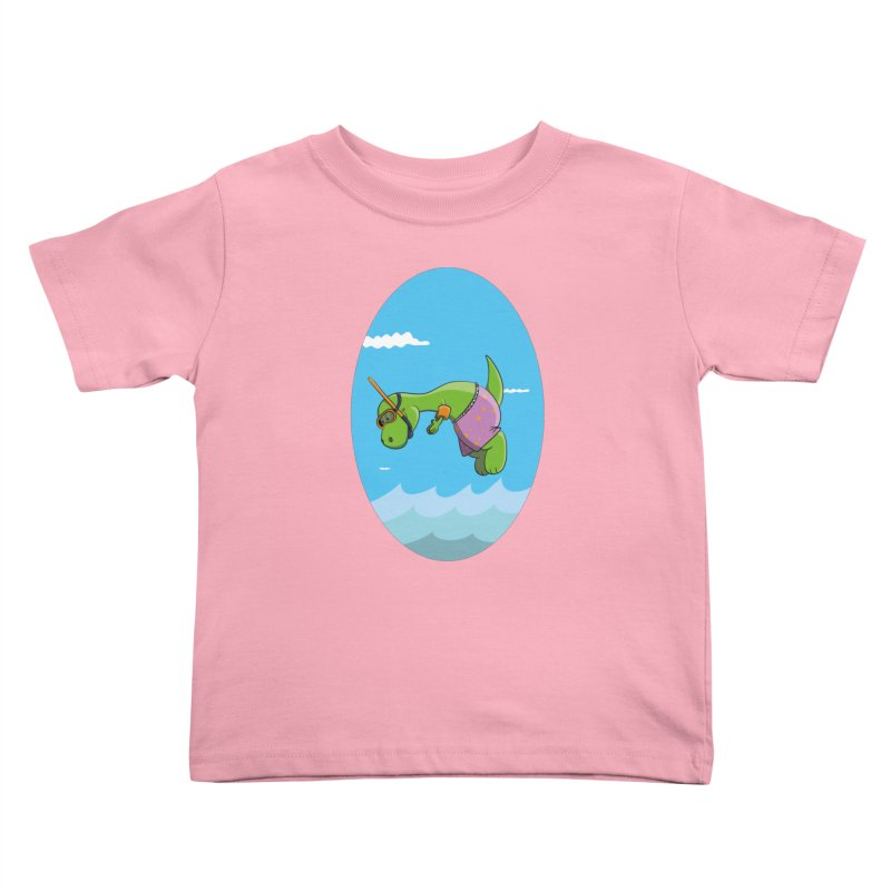 Funny Dinosaur is having a great Day at the Sea Kids Toddler T-Shirt by Illustrated Madness