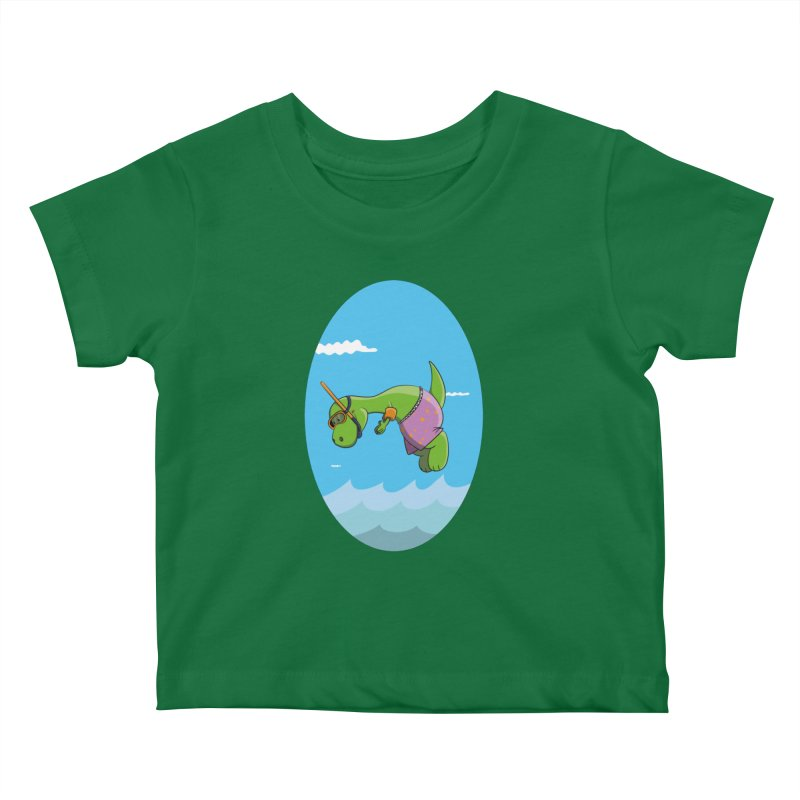 Funny Dinosaur is having a great Day at the Sea Kids Baby T-Shirt by Illustrated Madness
