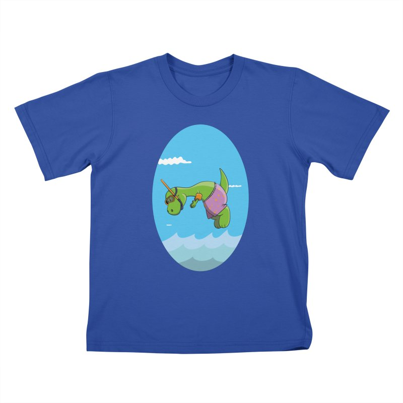 Funny Dinosaur is having a great Day at the Sea Kids T-Shirt by Illustrated Madness