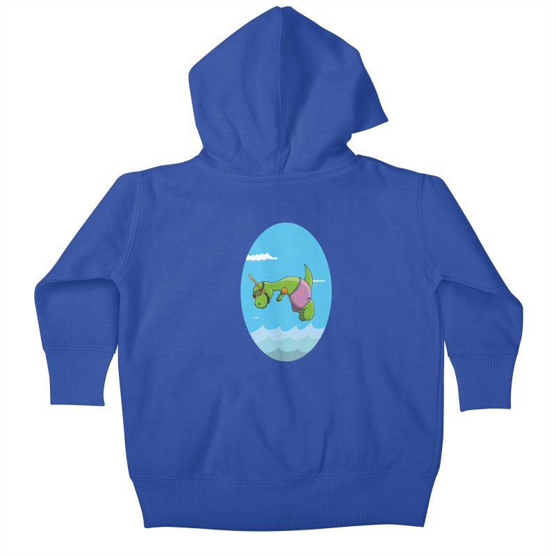 Funny Dinosaur is having a great Day at the Sea Kids Baby Zip-Up Hoody by Illustrated Madness