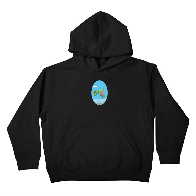 Funny Dinosaur is having a great Day at the Sea Kids Pullover Hoody by Illustrated Madness