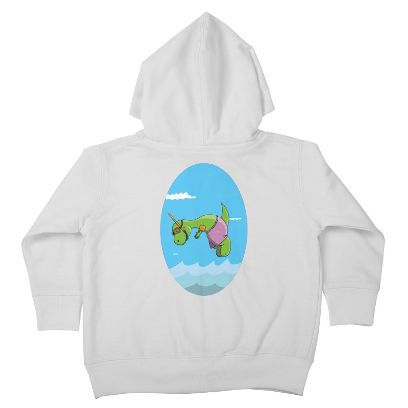 Funny Dinosaur is having a great Day at the Sea Kids Toddler Zip-Up Hoody by Illustrated Madness