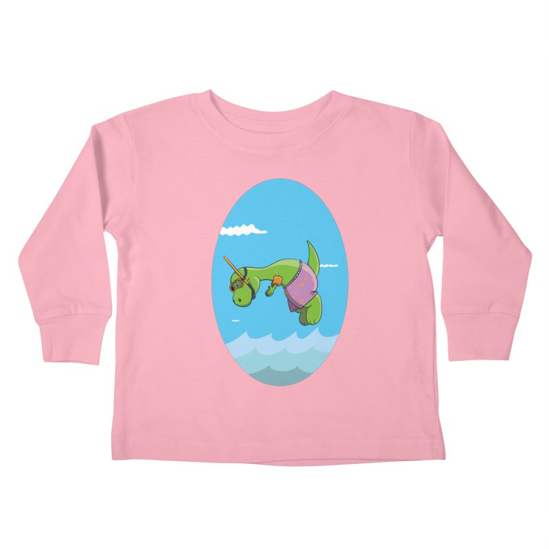 Funny Dinosaur is having a great Day at the Sea Kids Toddler Longsleeve T-Shirt by Illustrated Madness