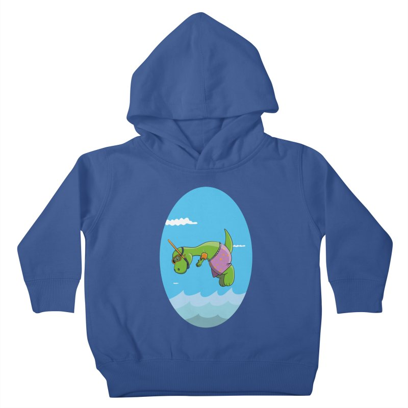 Funny Dinosaur is having a great Day at the Sea Kids Toddler Pullover Hoody by Illustrated Madness