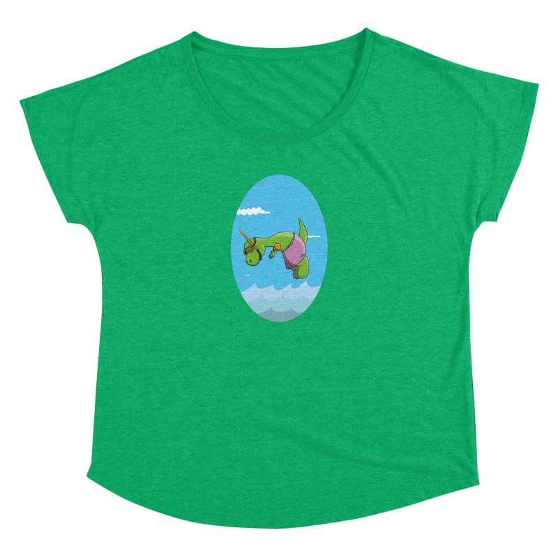Funny Dinosaur is having a great Day at the Sea Women's Scoop Neck by Illustrated Madness