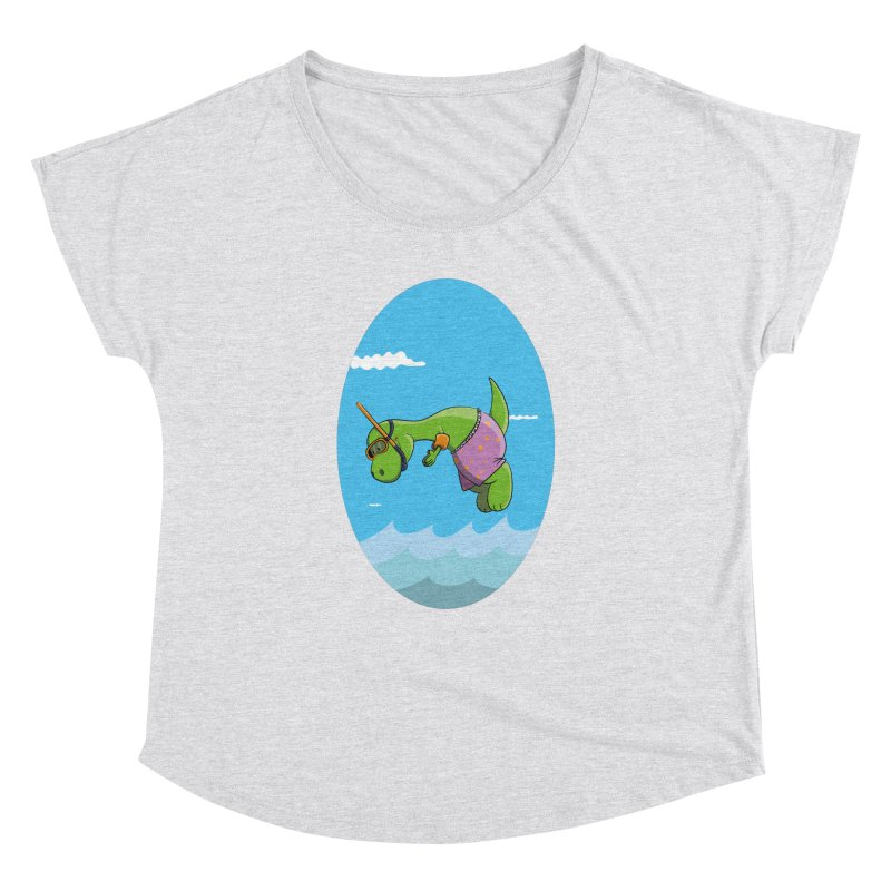 Funny Dinosaur is having a great Day at the Sea Women's Dolman Scoop Neck by Illustrated Madness