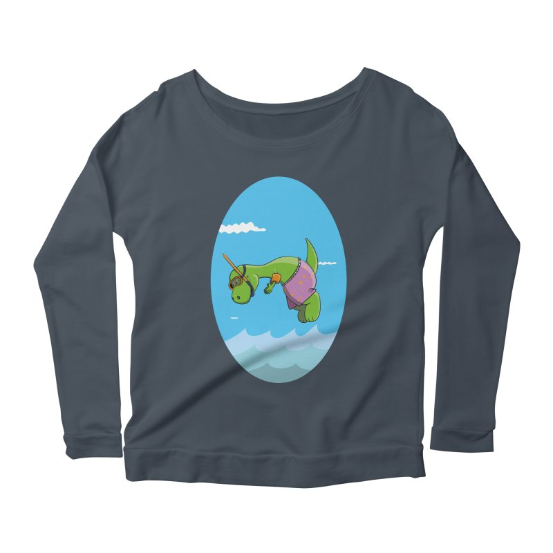 Funny Dinosaur is having a great Day at the Sea Women's Scoop Neck Longsleeve T-Shirt by Illustrated Madness