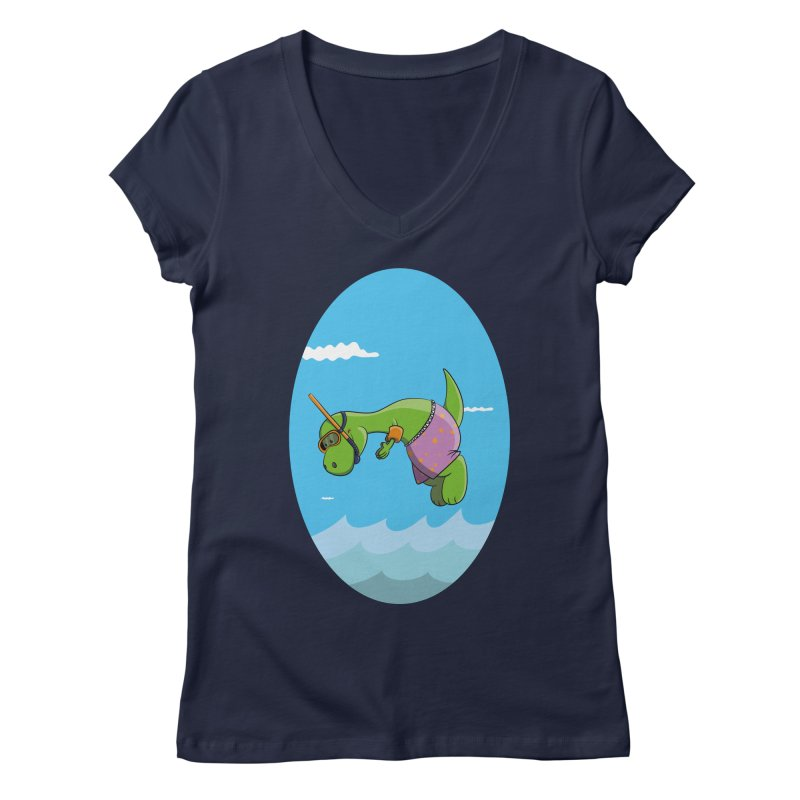 Funny Dinosaur is having a great Day at the Sea Women's V-Neck by Illustrated Madness