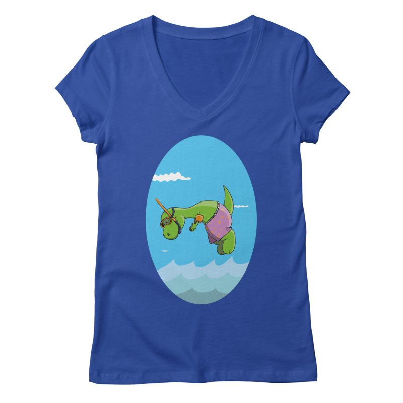 Funny Dinosaur is having a great Day at the Sea Women's Regular V-Neck by Illustrated Madness