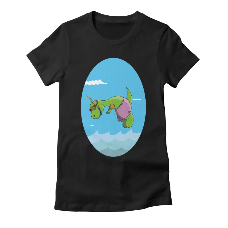 Funny Dinosaur is having a great Day at the Sea Women's Fitted T-Shirt by Illustrated Madness