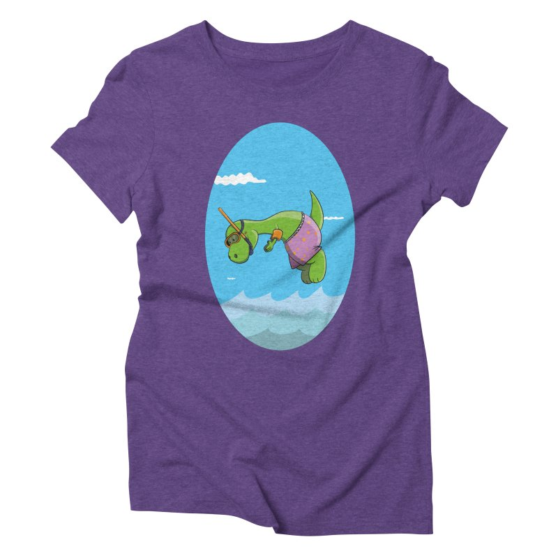 Funny Dinosaur is having a great Day at the Sea Women's Triblend T-Shirt by Illustrated Madness