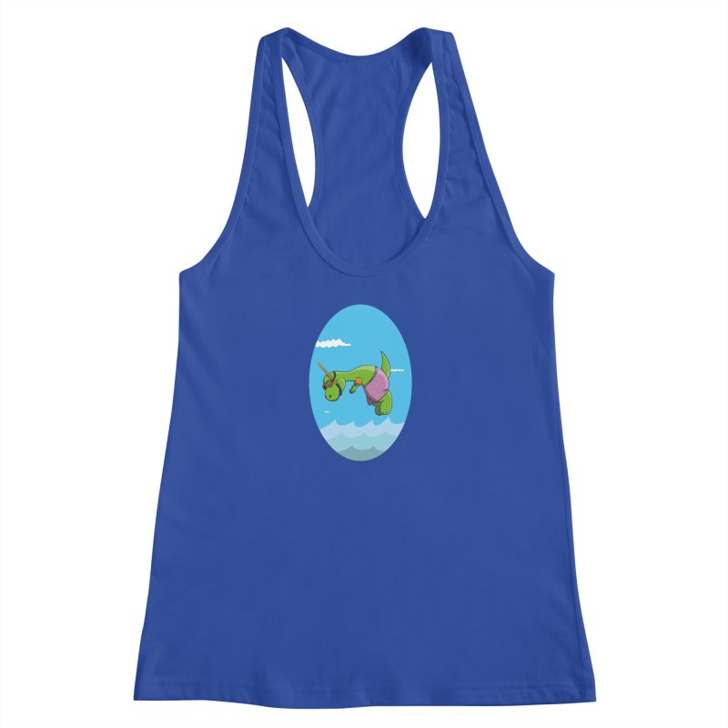 Funny Dinosaur is having a great Day at the Sea Women's Tank by Illustrated Madness