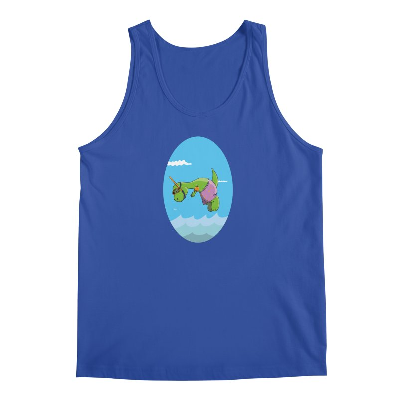 Funny Dinosaur is having a great Day at the Sea Men's Tank by Illustrated Madness
