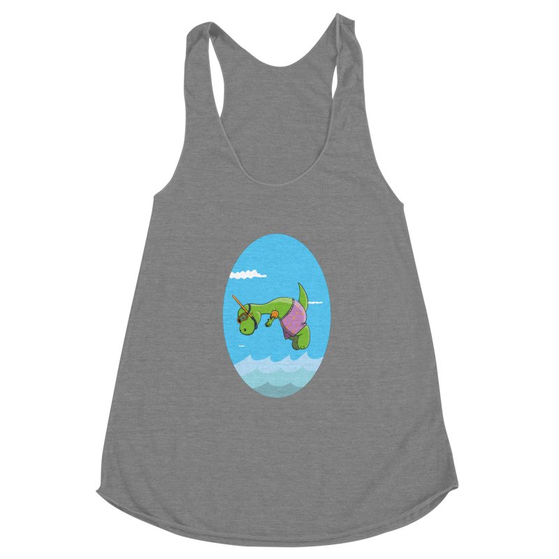 Funny Dinosaur is having a great Day at the Sea Women's Racerback Triblend Tank by Illustrated Madness