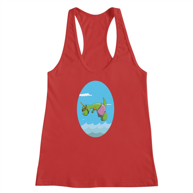 Funny Dinosaur is having a great Day at the Sea Women's Racerback Tank by Illustrated Madness