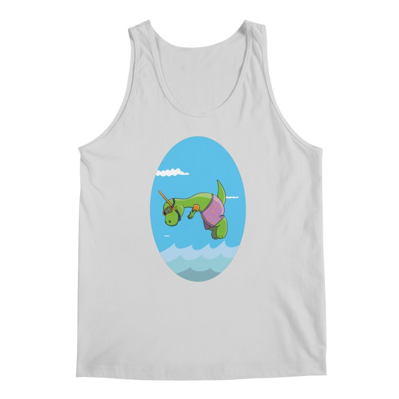 Funny Dinosaur is having a great Day at the Sea Men's Regular Tank by Illustrated Madness