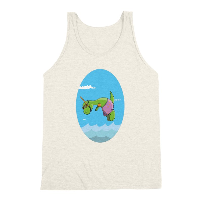 Funny Dinosaur is having a great Day at the Sea Men's Triblend Tank by Illustrated Madness