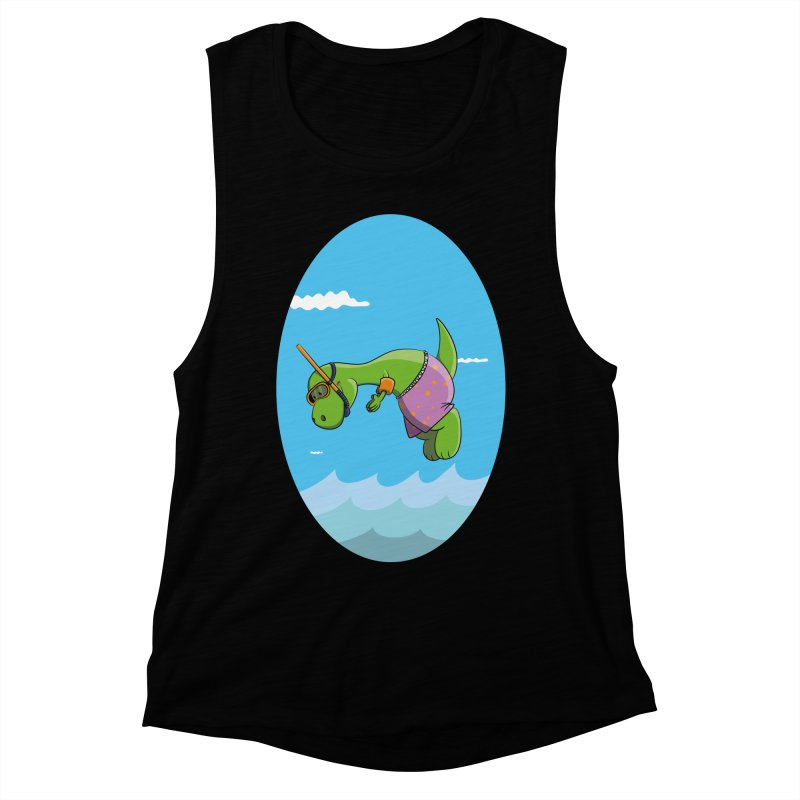 Funny Dinosaur is having a great Day at the Sea Women's Muscle Tank by Illustrated Madness