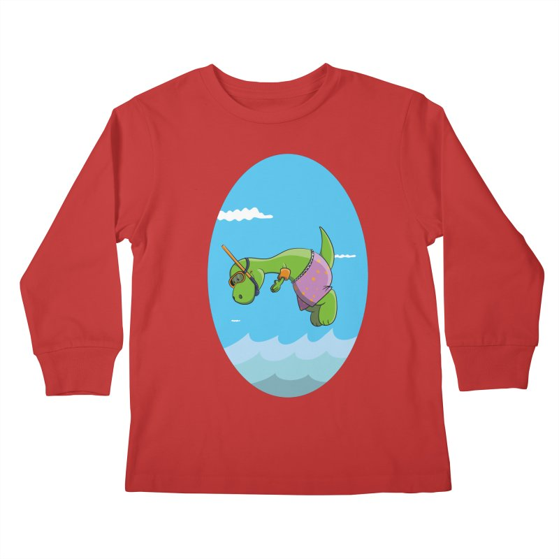 Funny Dinosaur is having a great Day at the Sea Kids Longsleeve T-Shirt by Illustrated Madness