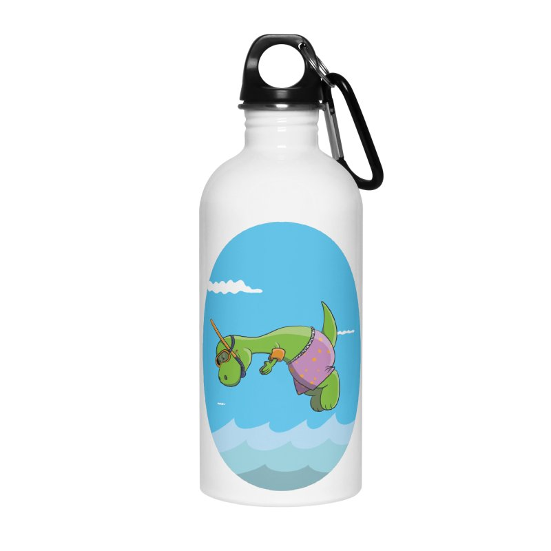 Funny Dinosaur is having a great Day at the Sea Accessories Water Bottle by Illustrated Madness