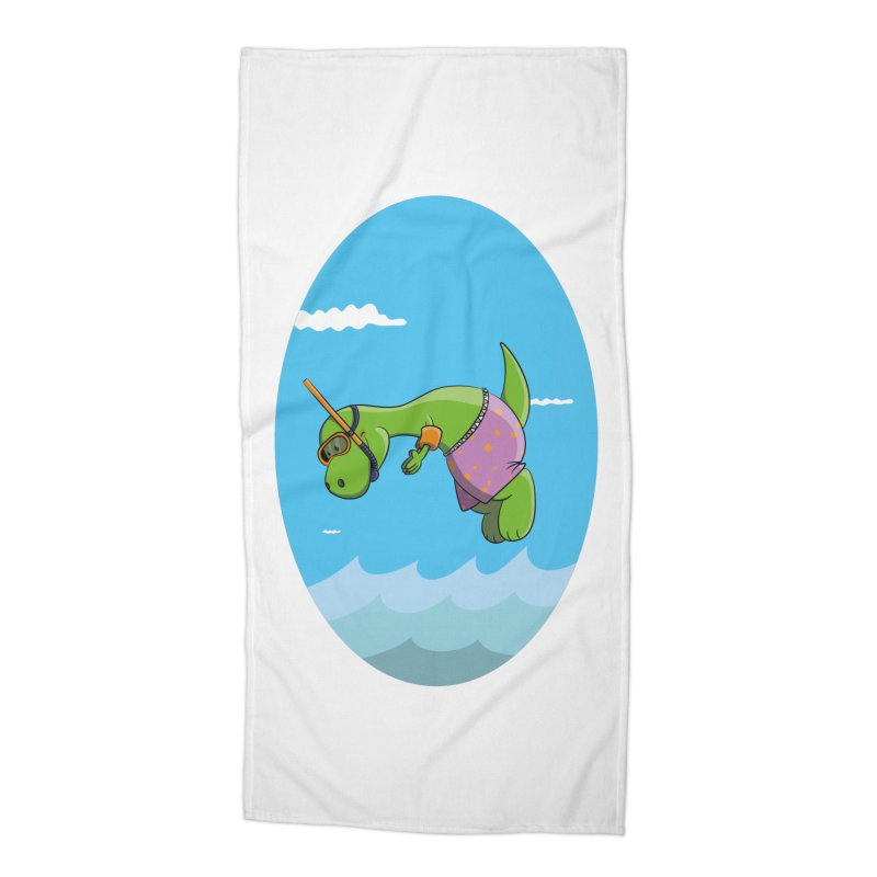 Funny Dinosaur is having a great Day at the Sea Accessories Beach Towel by Illustrated Madness