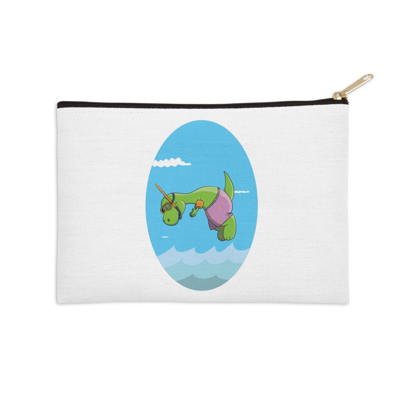 Funny Dinosaur is having a great Day at the Sea Accessories Zip Pouch by Illustrated Madness