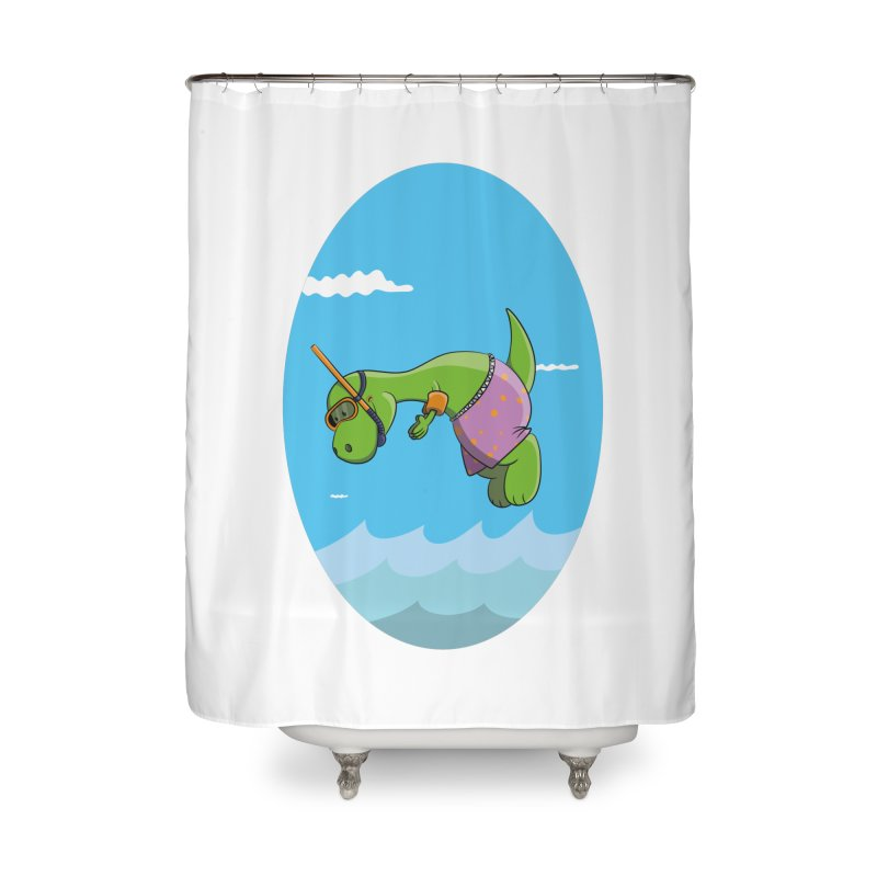 Funny Dinosaur is having a great Day at the Sea Home Shower Curtain by Illustrated Madness