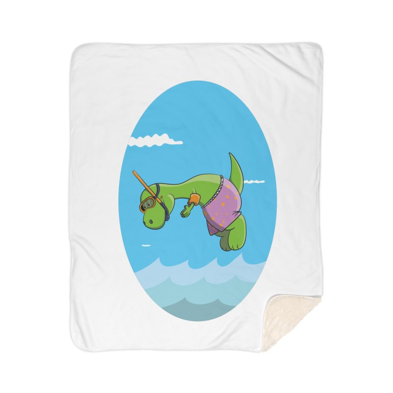 Funny Dinosaur is having a great Day at the Sea Home Sherpa Blanket Blanket by Illustrated Madness