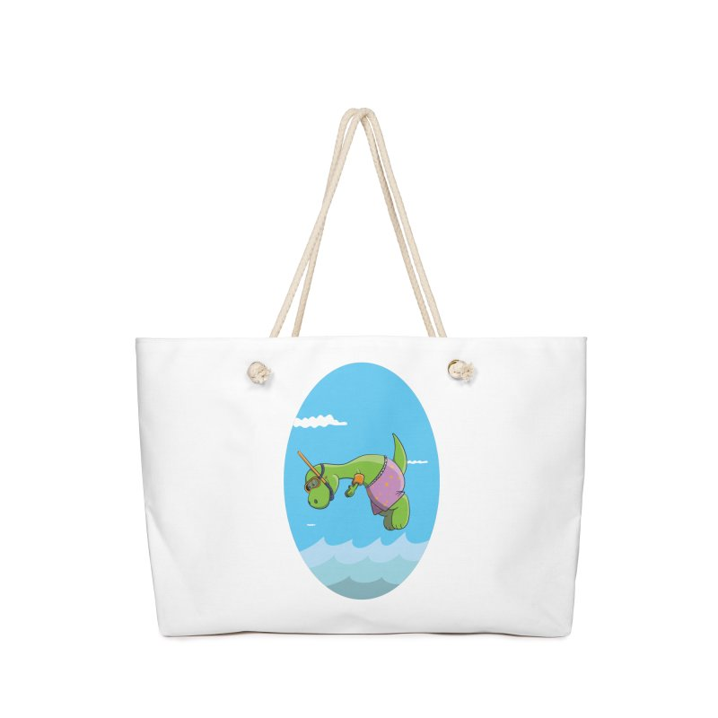 Funny Dinosaur is having a great Day at the Sea Accessories Bag by Illustrated Madness