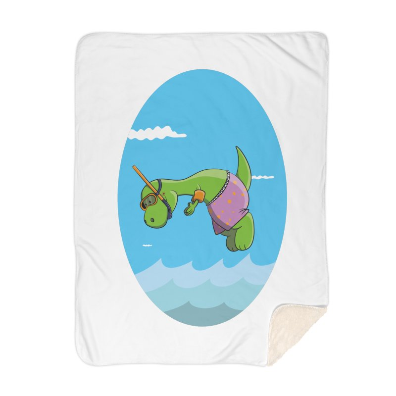 Funny Dinosaur is having a great Day at the Sea Home Blanket by Illustrated Madness