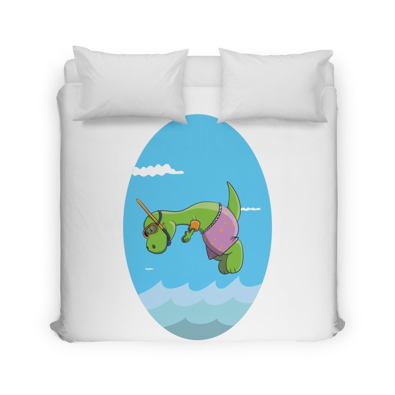 Funny Dinosaur is having a great Day at the Sea Home Duvet by Illustrated Madness