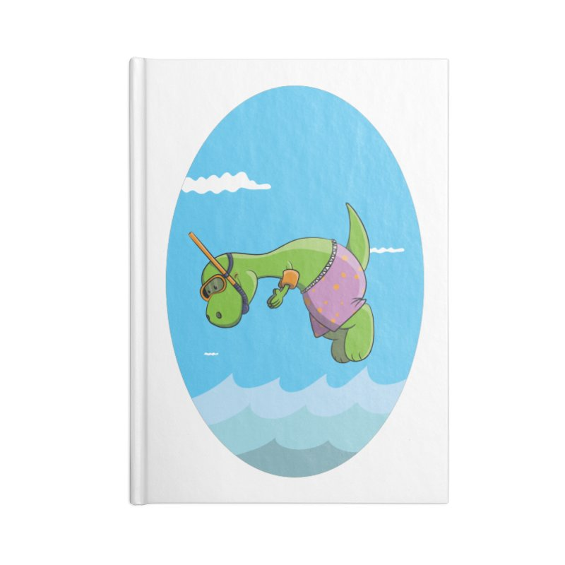 Funny Dinosaur is having a great Day at the Sea Accessories Blank Journal Notebook by Illustrated Madness