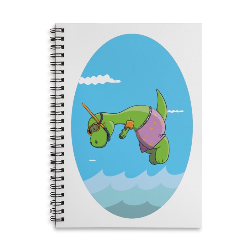 Funny Dinosaur is having a great Day at the Sea Accessories Lined Spiral Notebook by Illustrated Madness