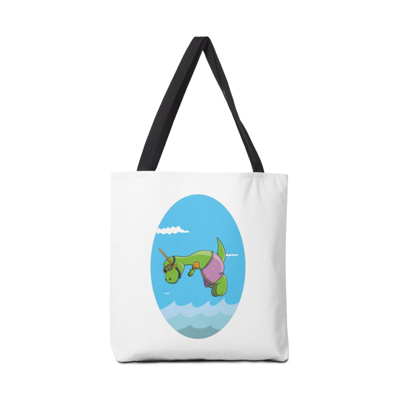 Funny Dinosaur is having a great Day at the Sea Accessories Tote Bag Bag by Illustrated Madness