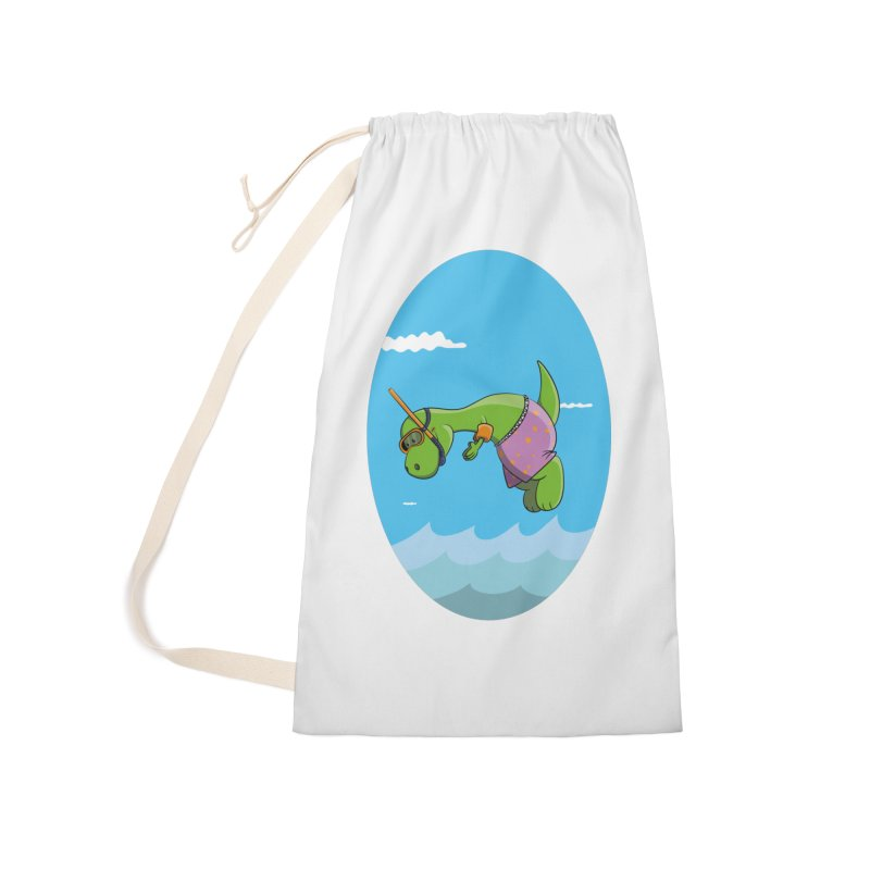 Funny Dinosaur is having a great Day at the Sea Accessories Laundry Bag Bag by Illustrated Madness