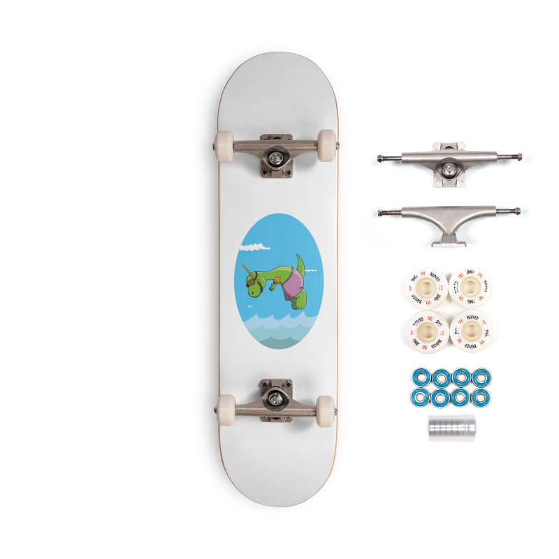 Funny Dinosaur is having a great Day at the Sea Accessories Complete - Premium Skateboard by Illustrated Madness