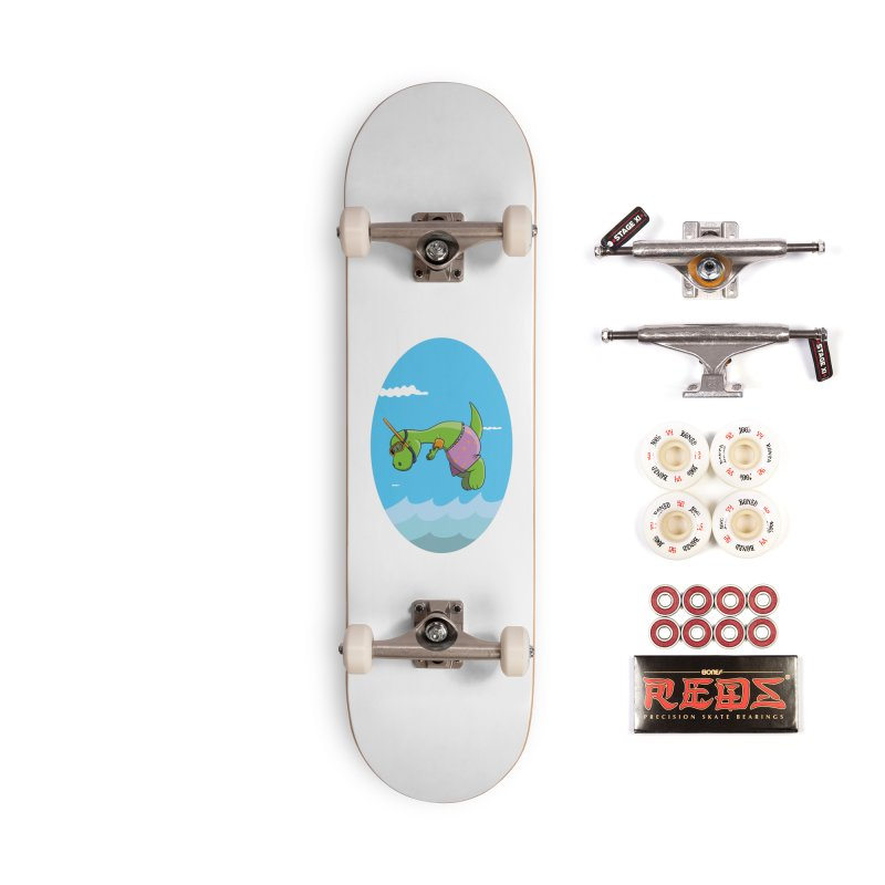 Funny Dinosaur is having a great Day at the Sea Accessories Complete - Pro Skateboard by Illustrated Madness