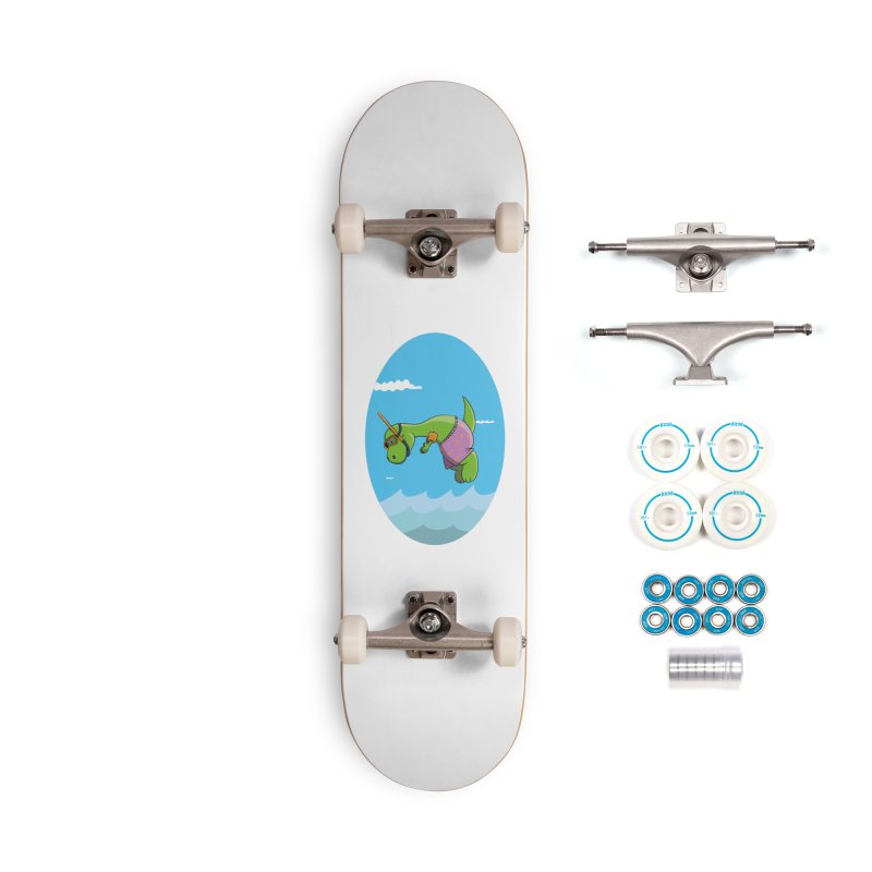 Funny Dinosaur is having a great Day at the Sea Accessories Skateboard by Illustrated Madness