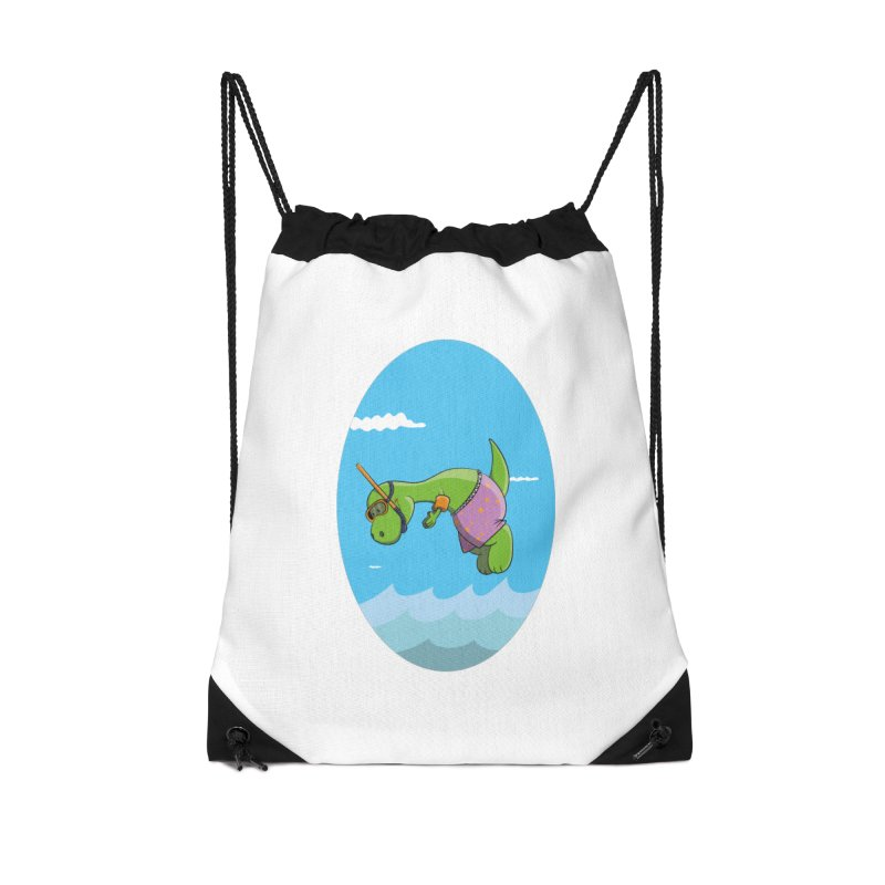 Funny Dinosaur is having a great Day at the Sea Accessories Drawstring Bag Bag by Illustrated Madness