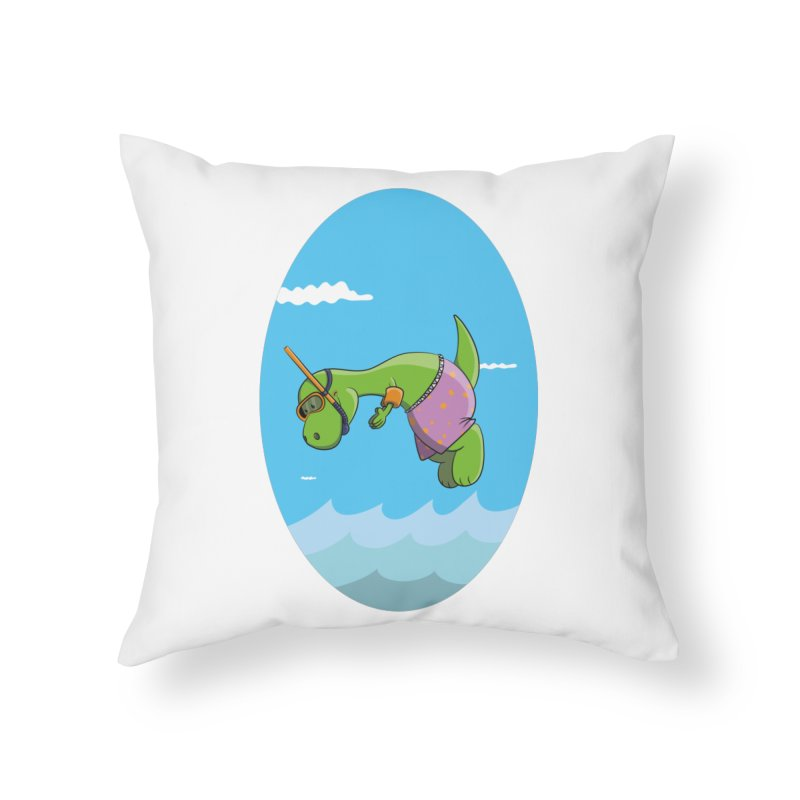 Funny Dinosaur is having a great Day at the Sea Home Throw Pillow by Illustrated Madness