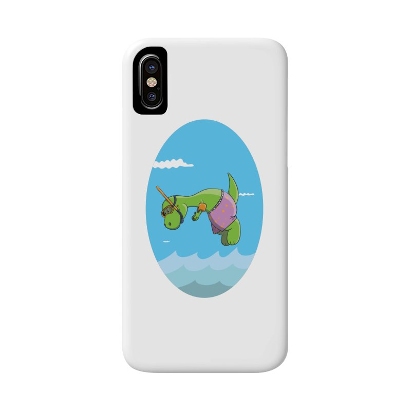 Funny Dinosaur is having a great Day at the Sea Accessories Phone Case by Illustrated Madness