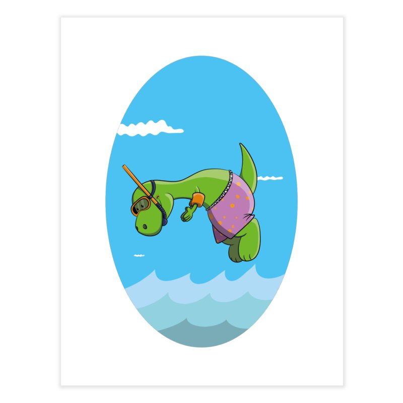 Funny Dinosaur is having a great Day at the Sea Home Fine Art Print by Illustrated Madness