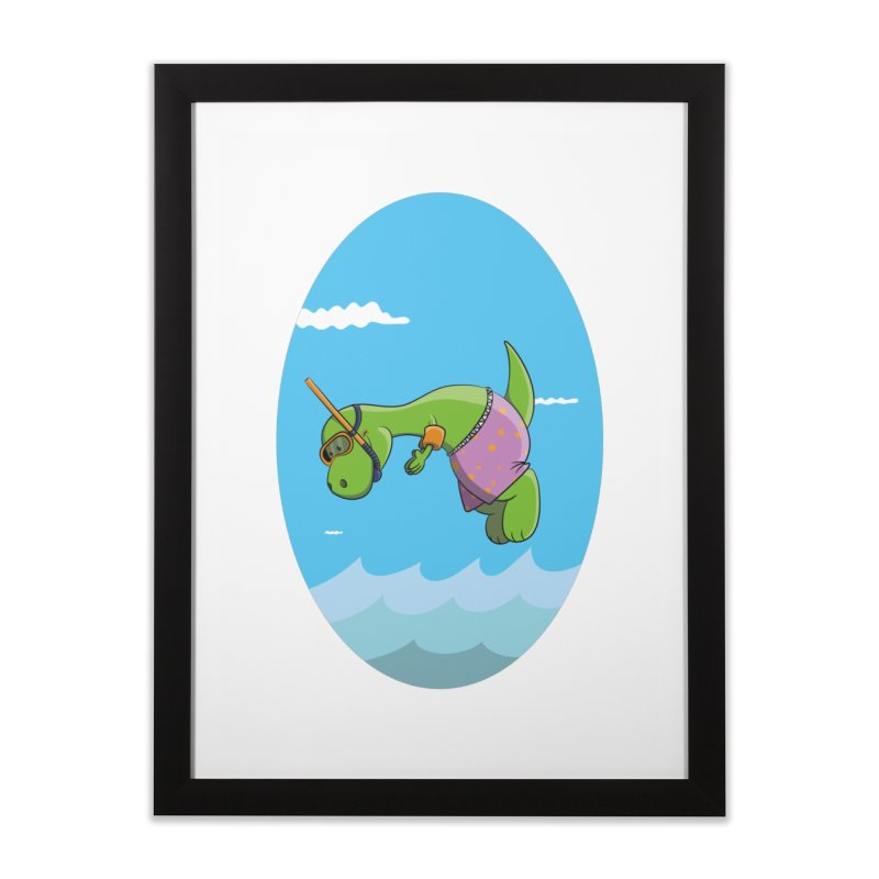 Funny Dinosaur is having a great Day at the Sea Home Framed Fine Art Print by Illustrated Madness