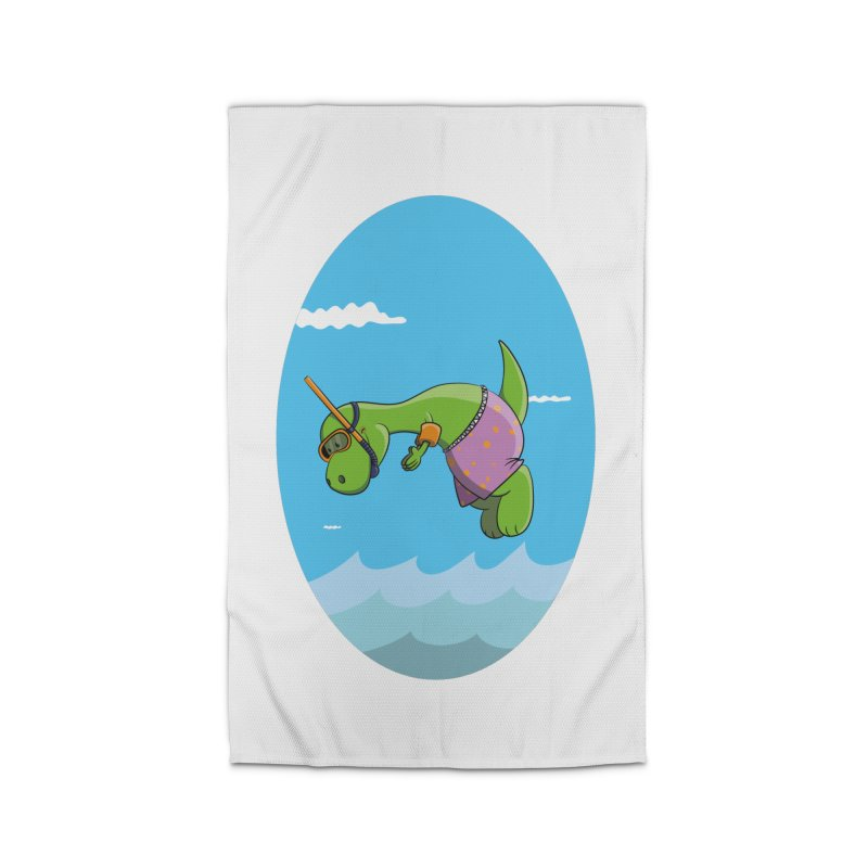 Funny Dinosaur is having a great Day at the Sea Home Rug by Illustrated Madness