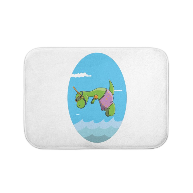 Funny Dinosaur is having a great Day at the Sea Home Bath Mat by Illustrated Madness