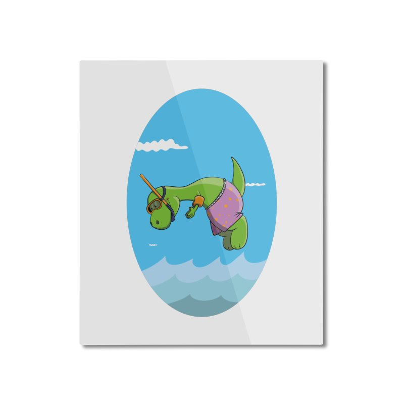 Funny Dinosaur is having a great Day at the Sea Home Mounted Aluminum Print by Illustrated Madness