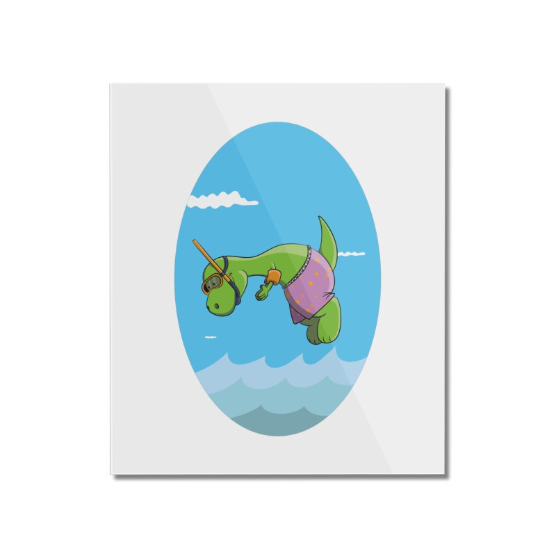 Funny Dinosaur is having a great Day at the Sea Home Mounted Acrylic Print by Illustrated Madness