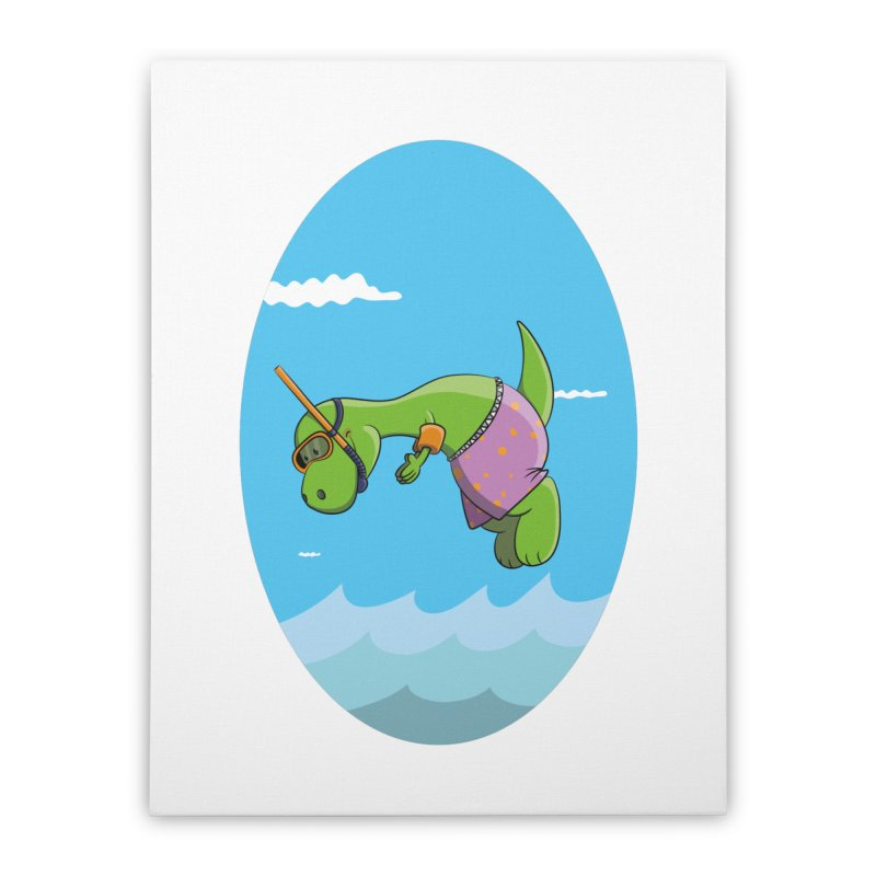 Funny Dinosaur is having a great Day at the Sea Home Stretched Canvas by Illustrated Madness