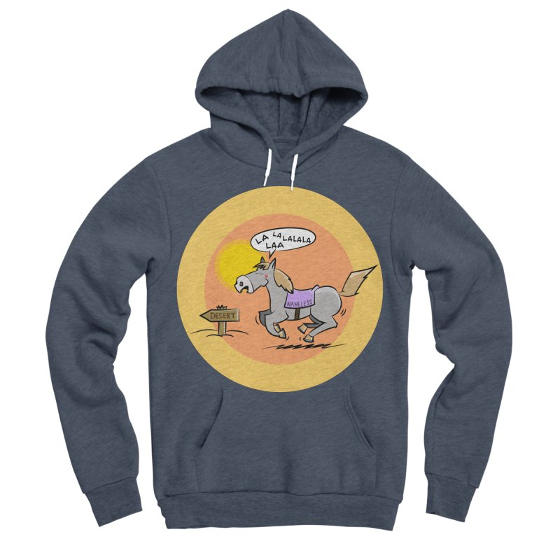 Horse with  no name is singing in the Desert Men's Sponge Fleece Pullover Hoody by Illustrated Madness