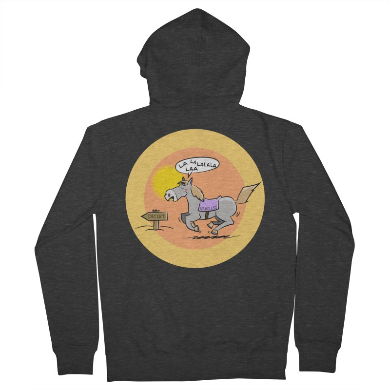 Horse with  no name is singing in the Desert Men's French Terry Zip-Up Hoody by Illustrated Madness
